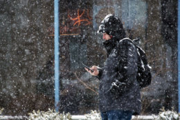 A D.C. resident checks his phone during the snowstorm. (WTOP/Dave Dildine)