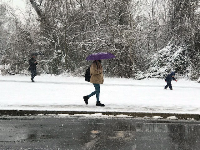 District residents brave the snow Wednesday. (WTOP/Steve Dresner)