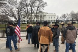 Cowboys for Trump riders gather outside the White House on Friday. (WTOP/Mike Murillo)