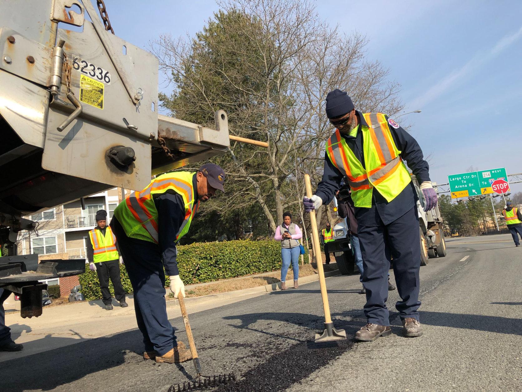 The county fills 16,000 potholes a year on average, Jones said. (WTOP/Kristi King)