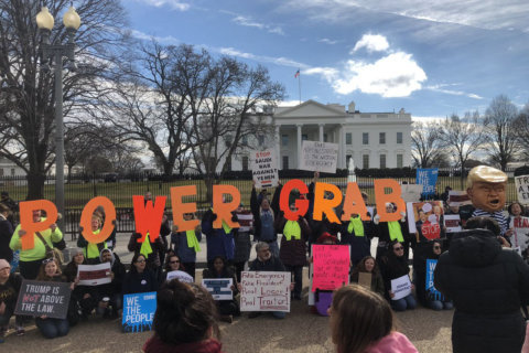 Activists in DC join Presidents Day protests against Trump's national emergency declaration