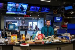 What you don't see when Jason Fraley is chatting with Channel 4: The Super Bowl potluck. (WTOP/Alejandro Alvarez)