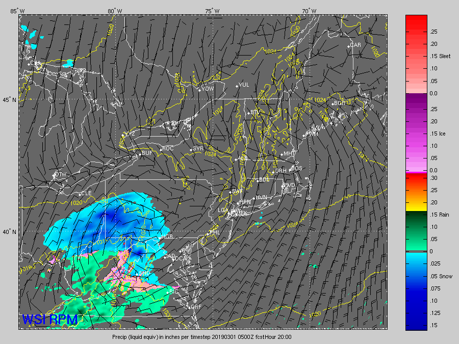RPM computer model output from early Thursday morning showing the potential progression of the snow overnight and through the morning rush on Friday. This is a snapshot for 12 a.m. Friday a.m. (Courtesy The Weather Company