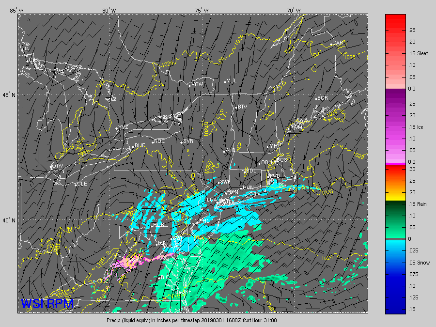 RPM computer model output from early Thursday morning showing the potential progression of the snow overnight and through the morning rush on Friday. This is a snapshot for noon Friday. (Courtesy The Weather Company)