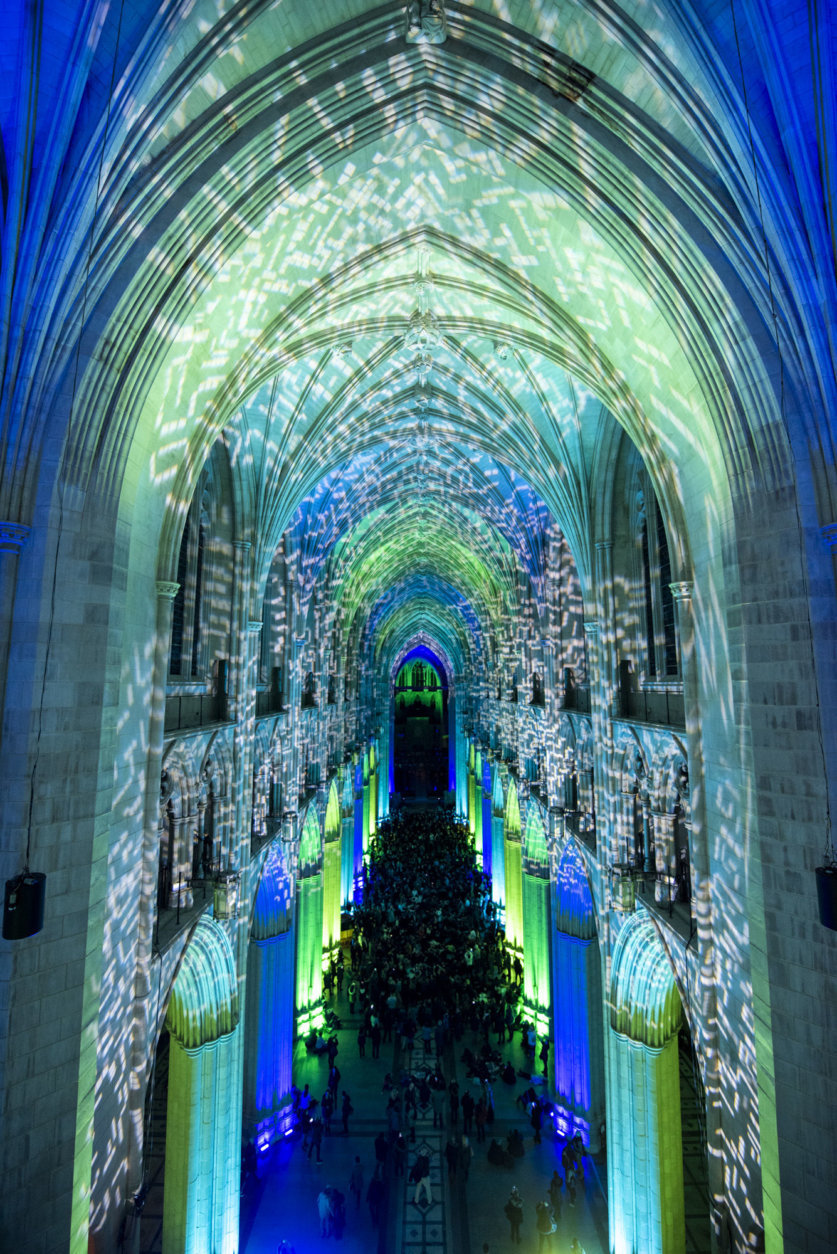 """""""Space, Light and Sound"""" bathed the Washington National Cathedral in color Monday night. (Courtesy Washington National Cathedral/Danielle E. Thomas)"""