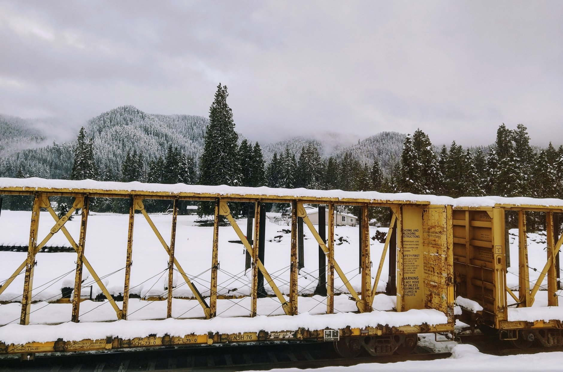 In this photo taken Monday, Feb. 25, 2019, provided by Tracy Rhodes, is her view out the window from inside an Amtrak train that was stuck for 36 hours in Oakridge, Ore.  The train traveling from Seattle to Los Angeles with 183 passengers got stranded in the snowy mountains of Oregon for at least 36 hours, putting a strain on passengers as food, patience and even diapers ran short.  (Tracy Rhodes via AP)