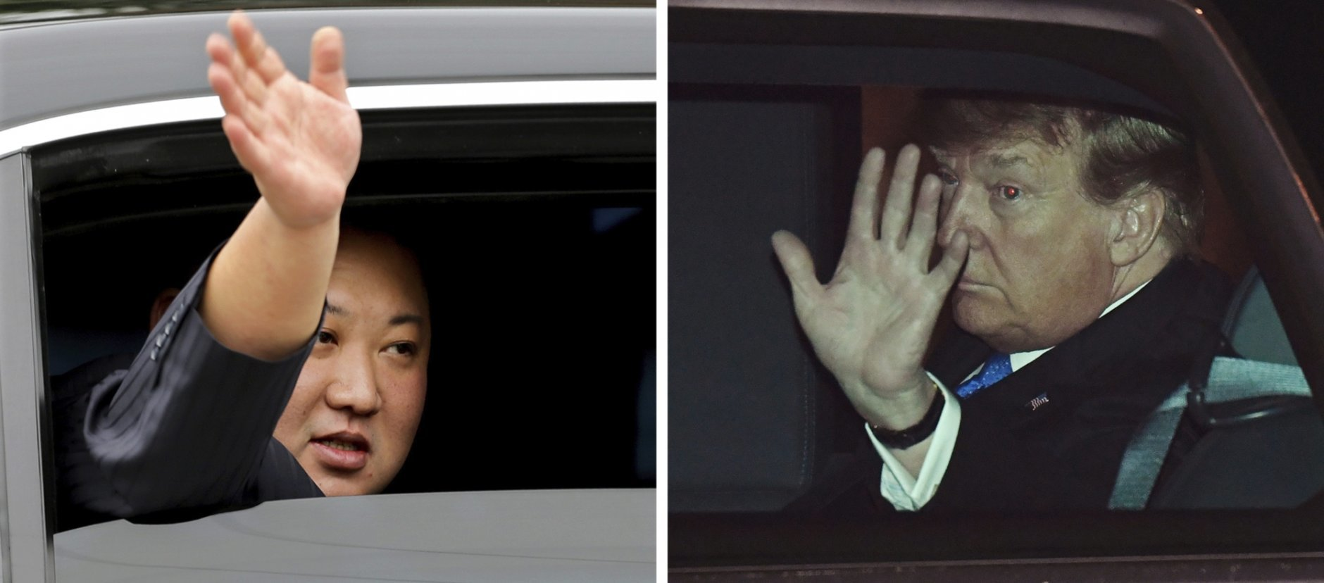 In this combination of images North Korean leader Kim Jong Un, left, waves from a car after arriving by train in Dong Dang, Vietnam, and U.S. President Donald Trump waves from his car after arriving on Air Force One at Noi Bai International Airport, in Hanoi, Vietnam, Tuesday, Feb. 26, 2019. Trump and Kim are to meet Wednesday in their second summit aimed at addressing perhaps the world's biggest security challenge: Kim's pursuit of a nuclear program that stands on the verge of viably threatening targets around the planet.  (AP Photos)