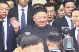 In this image from video, North Korean leader Kim Jong Un waves upon arrival in Dong Dang in Vietnamese border town Tuesday, Feb. 26, 2019, ahead of the second summit with U.S. President Donald Trump. (AP Photo)