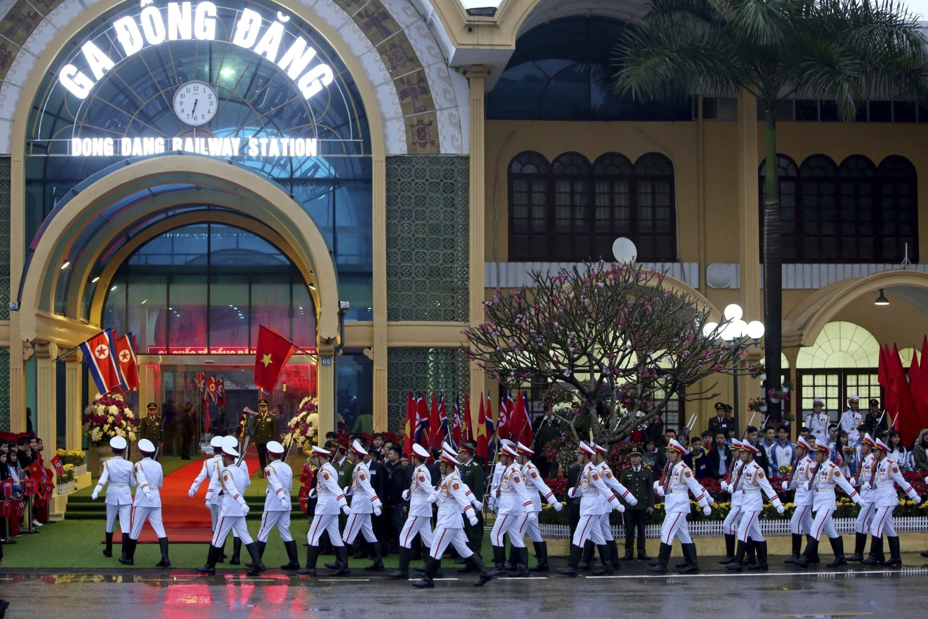 Honor guard arrive at the Dong Dang railway station in Dong Dang, Vietnam, Tuesday, Feb. 26, 2019, ahead of the arrival of North Korean leader Kim Jong Un for his second summit with U.S. President Donald Trump. (AP Photo/Minh Hoang)