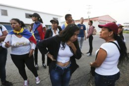 """Youths wearing white T-shirts and draped Venezuelan flags over their shoulders wait for permission to cross through an unmarked trail between high bushes to sneak into Colombia for the """"Venezuela Aid Live"""" concert, in Palotal, Venezuela, Friday, Feb. 22, 2019. Venezuela's power struggle is set to become a battle of the bands Friday when musicians demanding President Nicolas Maduro allow in humanitarian aid and those supporting his refusal sing in rival concerts being held at both sides of a border bridge where tons of donated food and medicine are stored.(AP Photo/Fernando Llano)"""