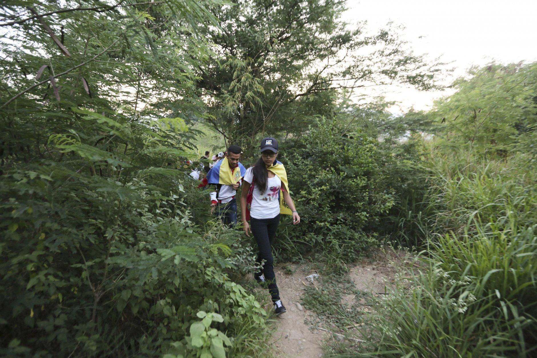 Youths wearing white T-shirts and Venezuelan flags hike through an unmarked trail between high bushes to sneak into Colombia, for the Venezuela Aid Live concert on the Colombian side of the border, in Palotal, Venezuela, Friday, Feb. 22, 2019. Venezuela's power struggle is set to become a battle of the bands Friday when musicians demanding President Nicolas Maduro allow in humanitarian aid and those supporting his refusal sing in rival concerts being held at both sides of a border bridge where tons of donated food and medicine are stored.(AP Photo/Fernando Llano)