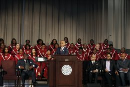 Rev. Al Sharpton delivers the keynote speech at the Reflections on Faith, Community and Racial Reconciliation in the Commonwealth ceremony hosted by Virginia Union University at the Allix B. James Chapel, Thursday, Feb. 7, 2019, in Richmond, Va.. Sharpton said in a fiery speech at historically black Virginia Union University that Virginia Gov. Ralph Northam and Attorney General Mark Herring must step down over their blackface admissions, and the sexual allegations against Lt. Gov. Justin Fairfax should be investigated thoroughly. (James H. Wallace/Richmond Times-Dispatch via AP)
