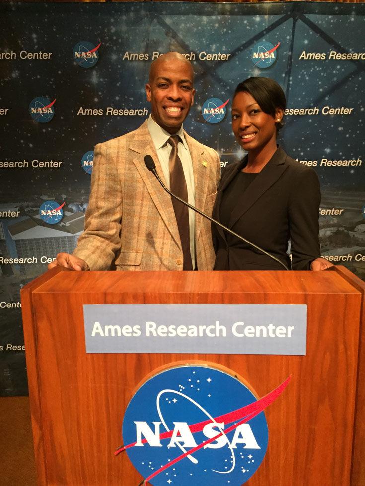 Aisha Bowe (right) at NASA Ames in Mountain View, California. Bowe spent six years with NASA. (Courtesy Aisha Bowe)