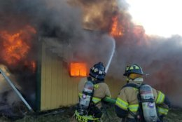 Frederick County, Maryland, firefighters battle a barn fire on Saturday, Feb. 9, 2019. (Courtesy Frederick County Fire and Rescue/Facebook)