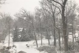 Bethesda, Maryland, got a heavy dose of snow Wednesday morning. (Courtesy @JohnKonkus via Twitter)