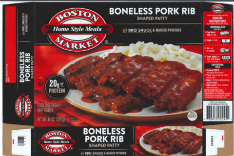 Boston Market frozen ribs recalled