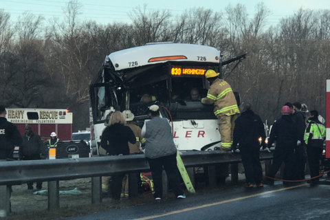 Bus driver rescued in crash on Md. Route 5, traffic delays continue