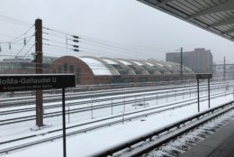 The NoMa-Gallaudet Metro station got a coating of snow Wednesday. (WTOP/Chris Cichon)