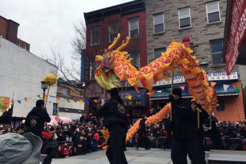 Crowd converges near Friendship Archway for Chinese New Year celebration