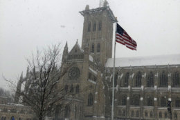 The storm that hit the D.C. area Wednesday brought plenty of snow to the National Cathedral. (Courtesy Evan Johnson)