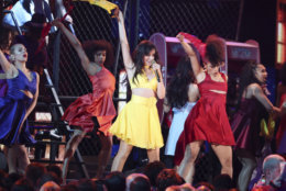 """Camila Cabello, center, performs """"Havana"""" at the 61st annual Grammy Awards on Sunday, Feb. 10, 2019, in Los Angeles. (Photo by Matt Sayles/Invision/AP)"""
