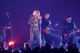 """Lady Gaga, left, and Mark Ronson perform """"Shallow"""" at the 61st annual Grammy Awards on Sunday, Feb. 10, 2019, in Los Angeles. (Photo by Matt Sayles/Invision/AP)"""