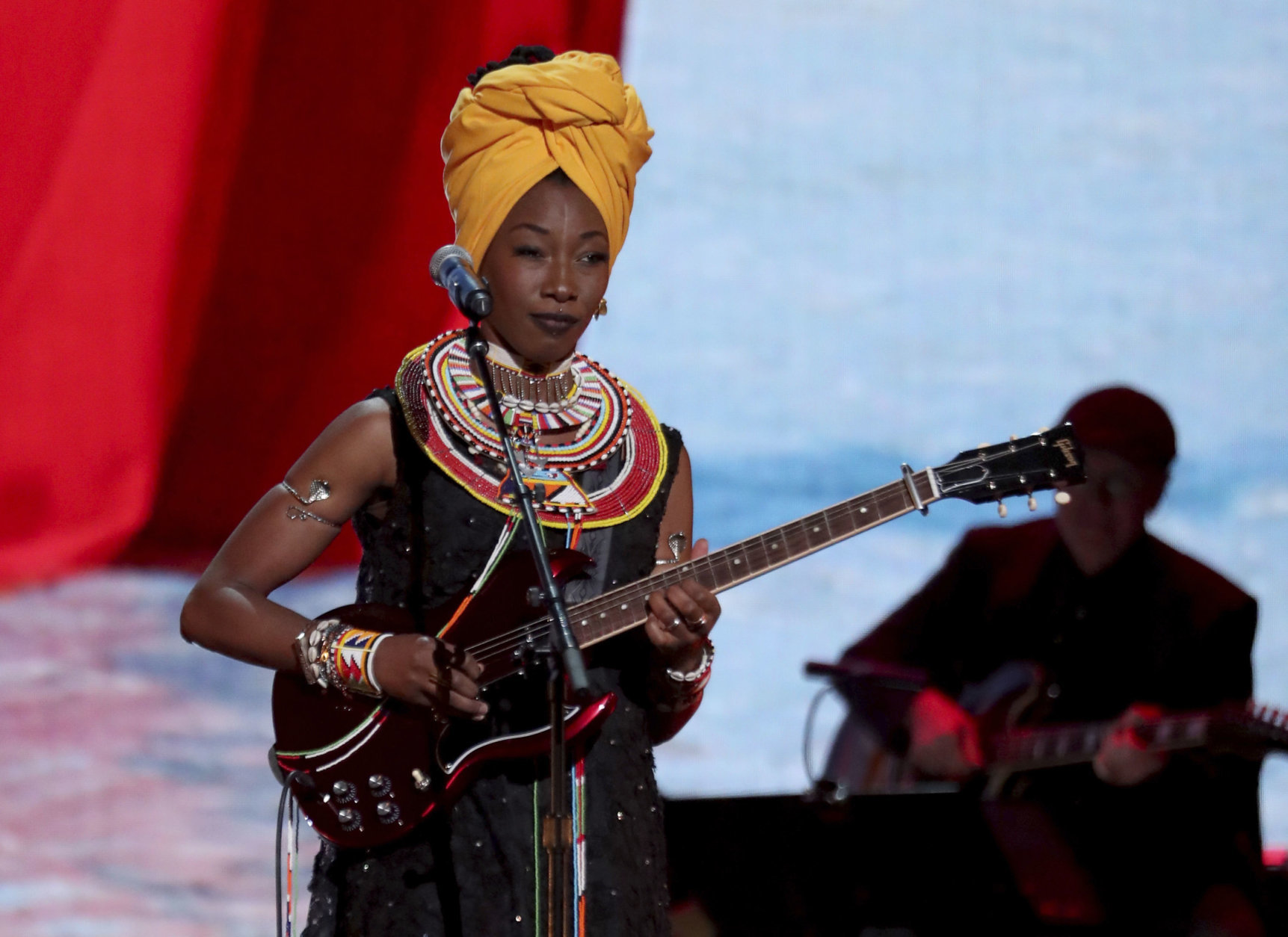 Fatoumata Diawara performs at the 61st annual Grammy Awards on Sunday, Feb. 10, 2019, in Los Angeles. (Photo by Matt Sayles/Invision/AP)