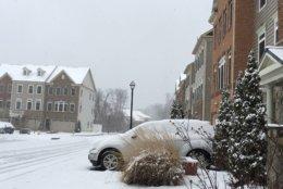 Snow covers Annapolis. (WTOP/Joan Jones)