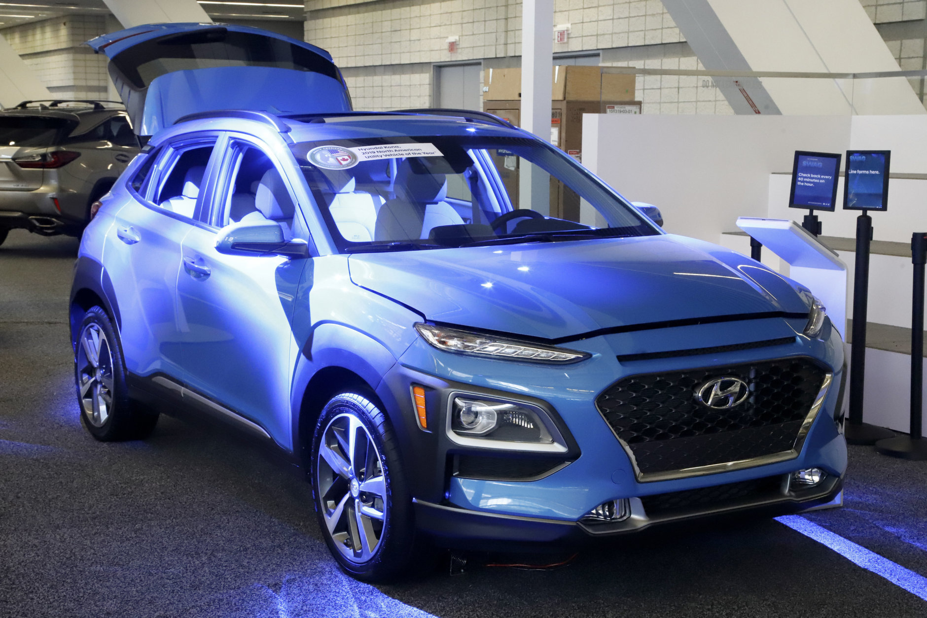 This is a 2019 Hyundai Kona on display at the 2019 Pittsburgh International Auto Show in Pittsburgh Thursday, Feb. 14, 2019. (AP Photo/Gene J. Puskar)