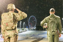 Snow falls in the early morning hours Wednesday at National Harbor. (Courtesy George West)