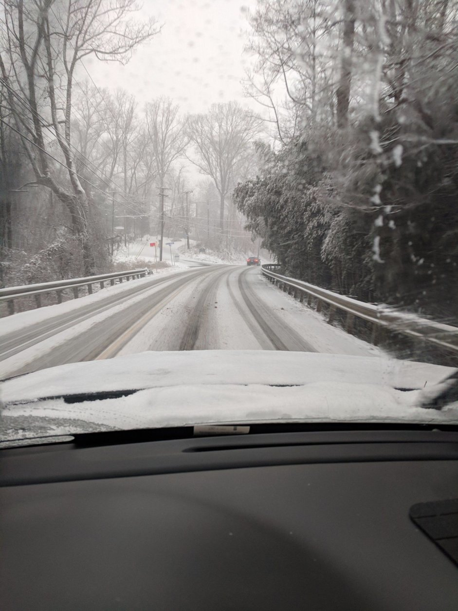 Readers report that road conditions are dangerous in Old Dominion in Arlington, Virginia. (Courtesy @GinoKusa via Twitter)