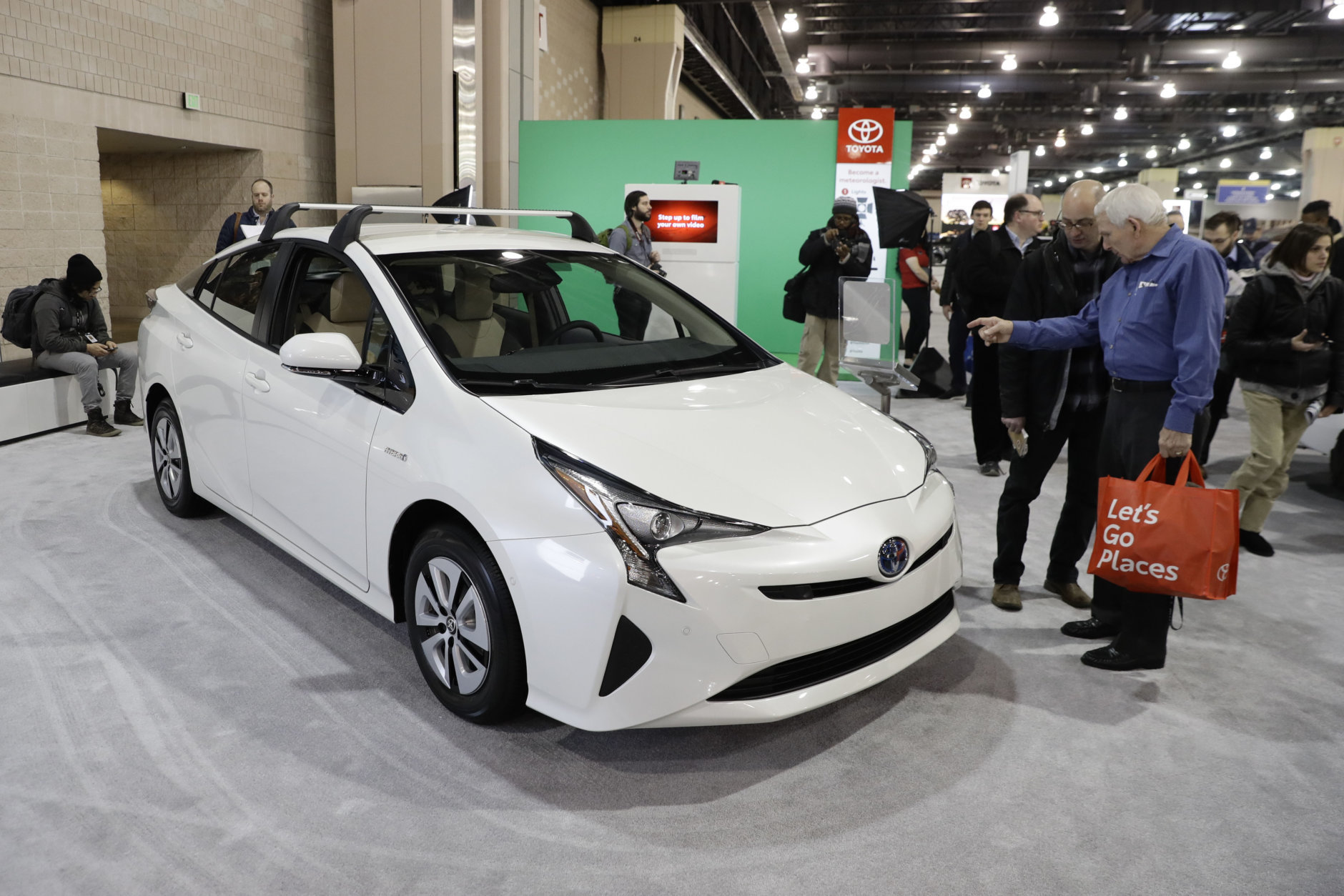 A Toyota Prius is seen at the Philadelphia Auto Show, Friday, Feb. 1, 2019, in Philadelphia. (AP Photo/Matt Slocum)
