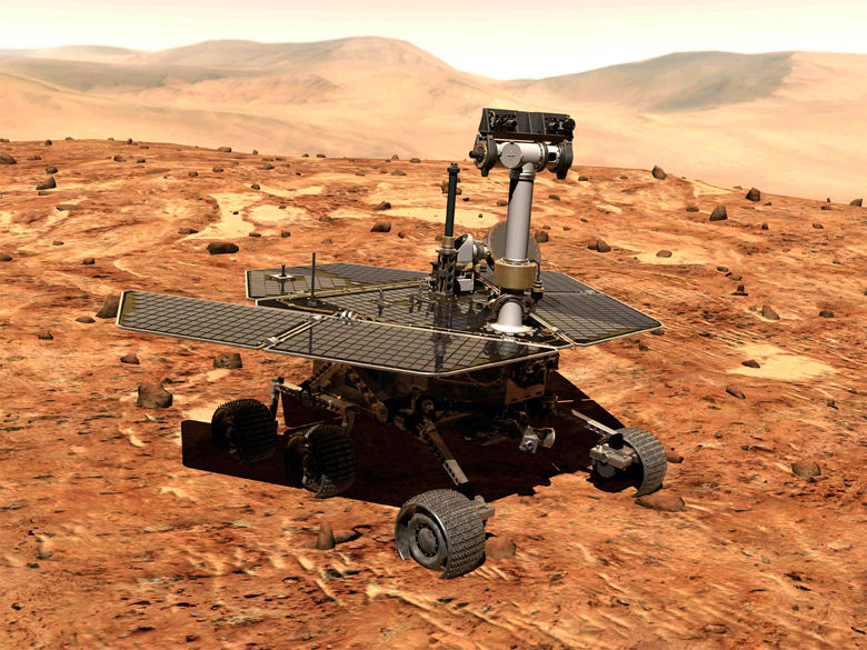 The Mars rover, named Opportunity, is shown in this artist conception released by NASA. A Delta II rocket is scheduled to launch Opportunity on Saturday June 28, 2003 from the Cape Canaveral Air Force Station in Cape Canaveral, Fla. carrying the vehicle. (AP Photo/NASA/HO)