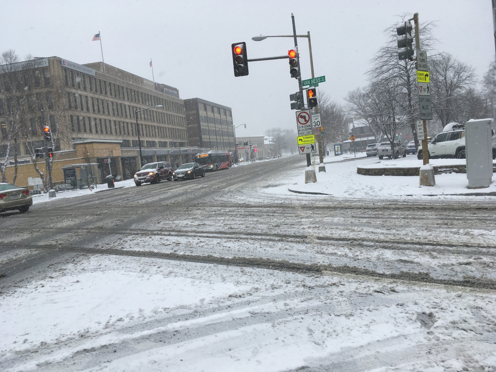 It's not the average rush hour at 8:55 a.m. on Wisconsin Avenue in Northwest D.C. (WTOP/Rick Massimo)