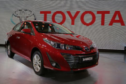 Newly launched Toyota Yaris is displayed at the Auto Expo in Greater Noida, near New Delhi, India, Wednesday, Feb. 7, 2018. The biennial automobile exhibition opens to public Friday and runs till Feb.14. (AP Photo/Altaf Qadri)