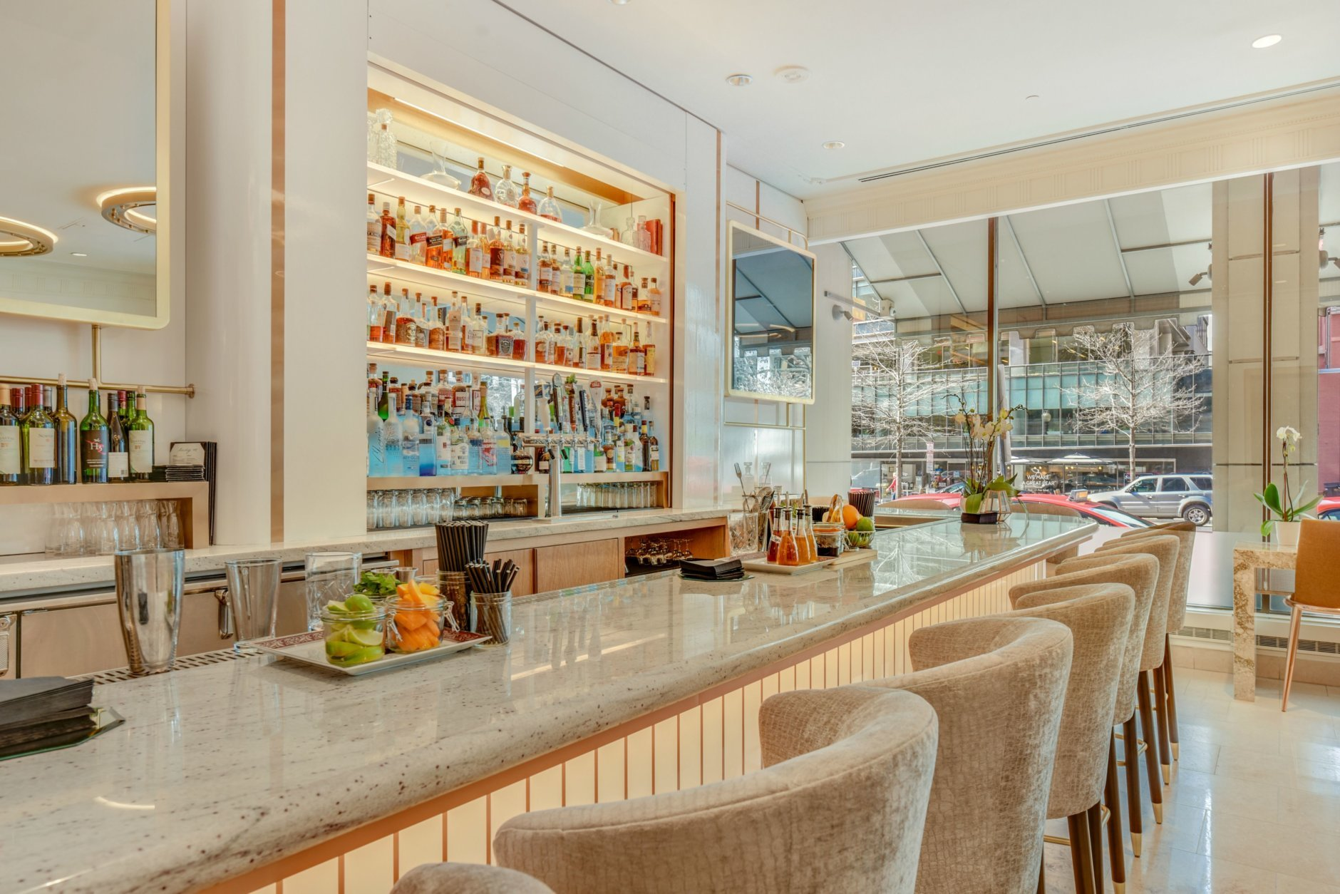 The Madison Washington DC hotel has completed a $4 million renovation of its lobby and other common areas, including a new Lady M cocktail lounge. (Courtesy Hilton Hotels)