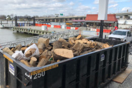 This is the fourth dumpster of debris to be removed from the channel thus far. (WTOP/Kristi King)