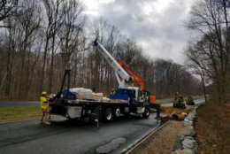 Crews make repairs to the sinkhole on the George Washington Parkway. (Courtesy National Park Service)