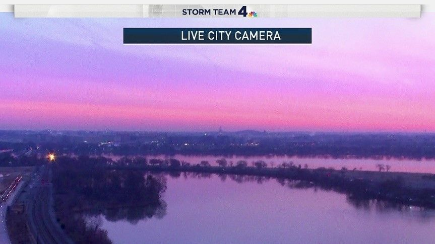 The beginning of the sunrise on the first day of spring in D.C. is seen. (Courtesy NBC Washington)