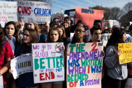 The second iteration of MoCo Students for Change's walkout drew hundreds to the White House before a march to the Capitol, pressuring Congress to pass comprehensive gun control legislation. (WTOP/Alejandro Alvarez)