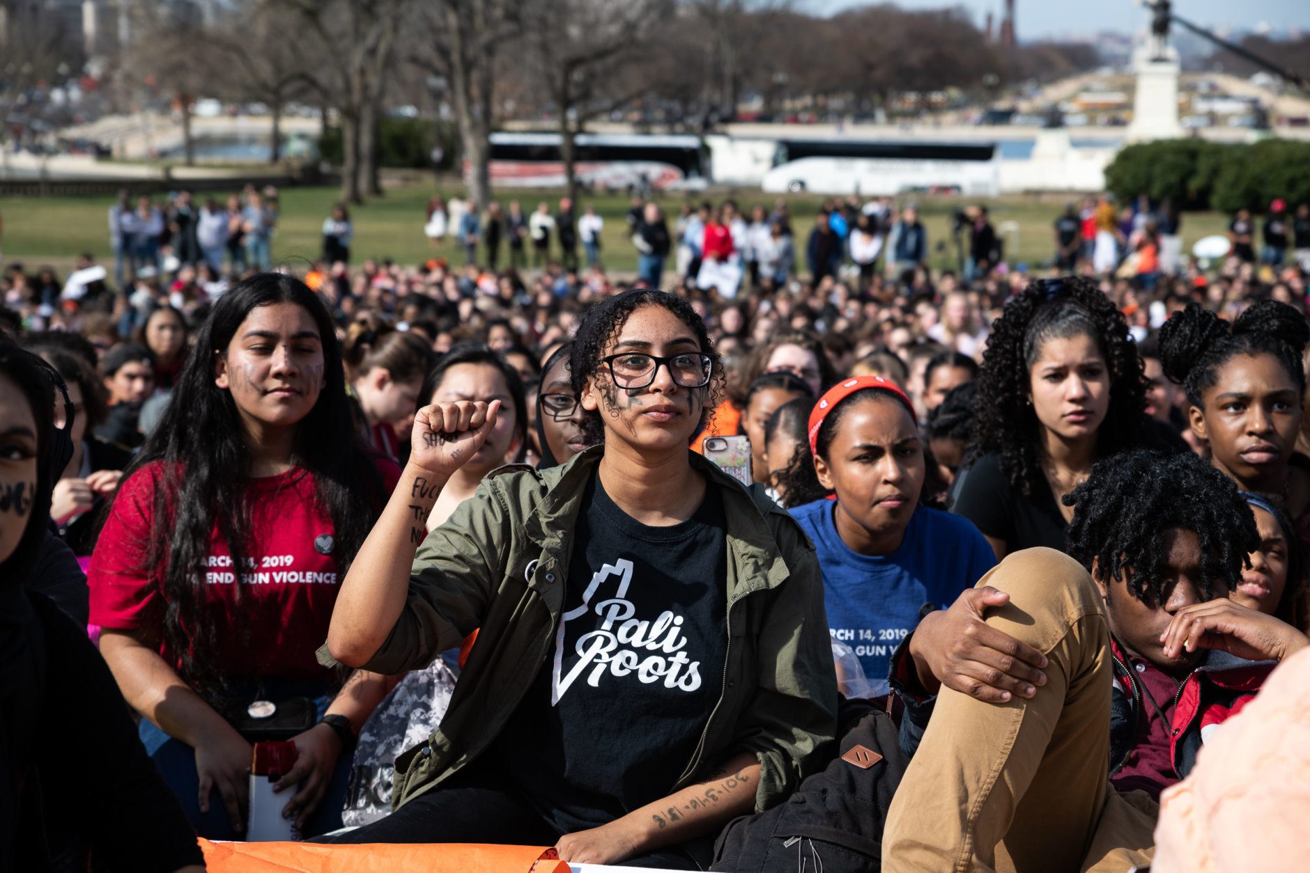 Students from Maryland, Virginia and D.C. joined up for an outdoor rally in the shadow of the Capitol rotunda, emboldened by a new Democratic majority in the House. (WTOP/Alejandro Alvarez)