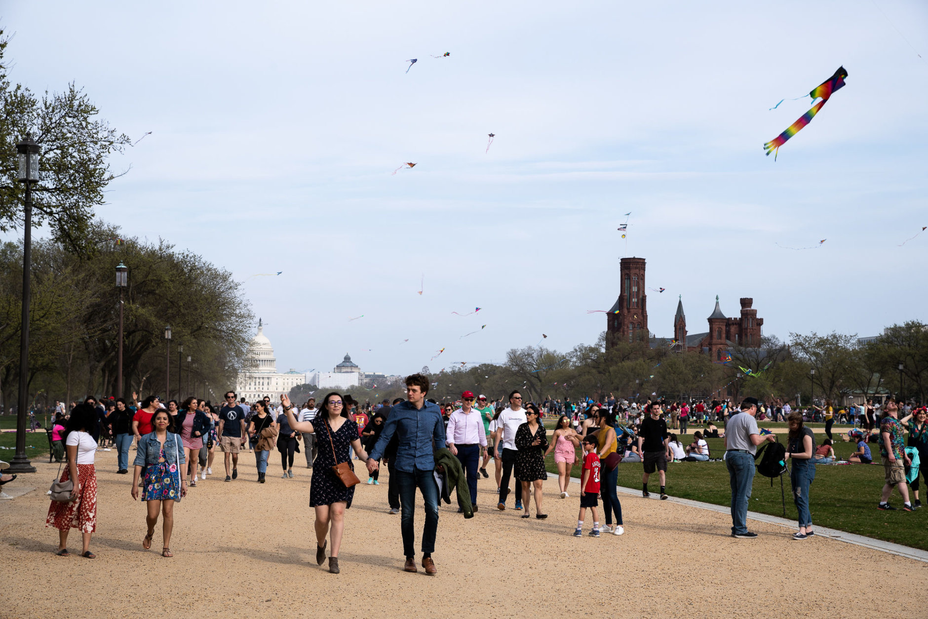 Kites fly over the National Mall on March 30. The yearly kite festival brings thousands to the Mall on its own — and 2019's festival coincided with the days leading up to peak bloom for the cherry blossoms, itself one of D.C.'s most popular days for tourists. (WTOP/Alejandro Alvarez)