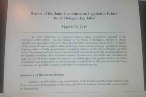 Maryland Del. Jalisi faces reprimand for chronic staff abuse