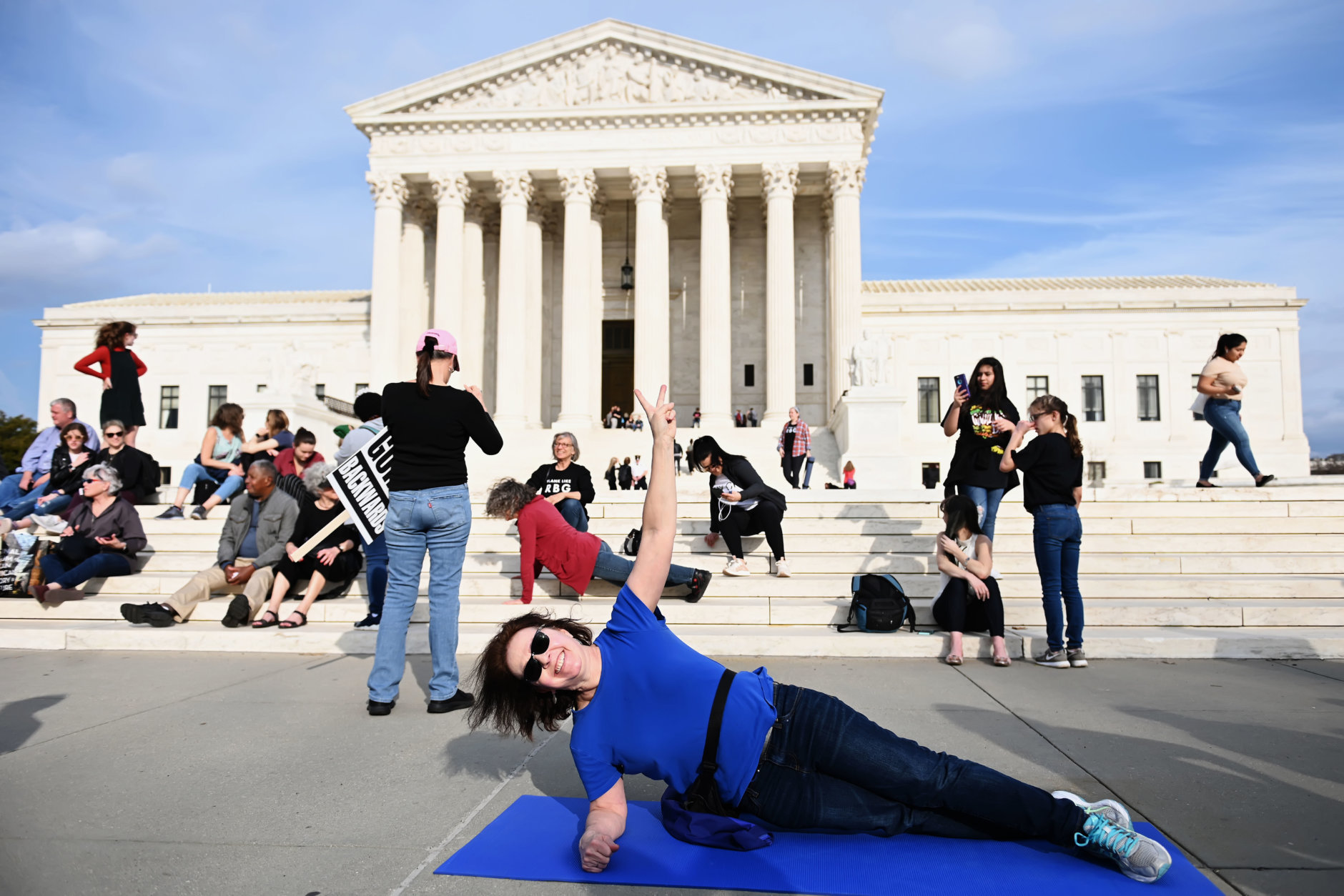 A perfect side plank in honor of Justice Ginsburg. (Courtesy Shannon Finney)