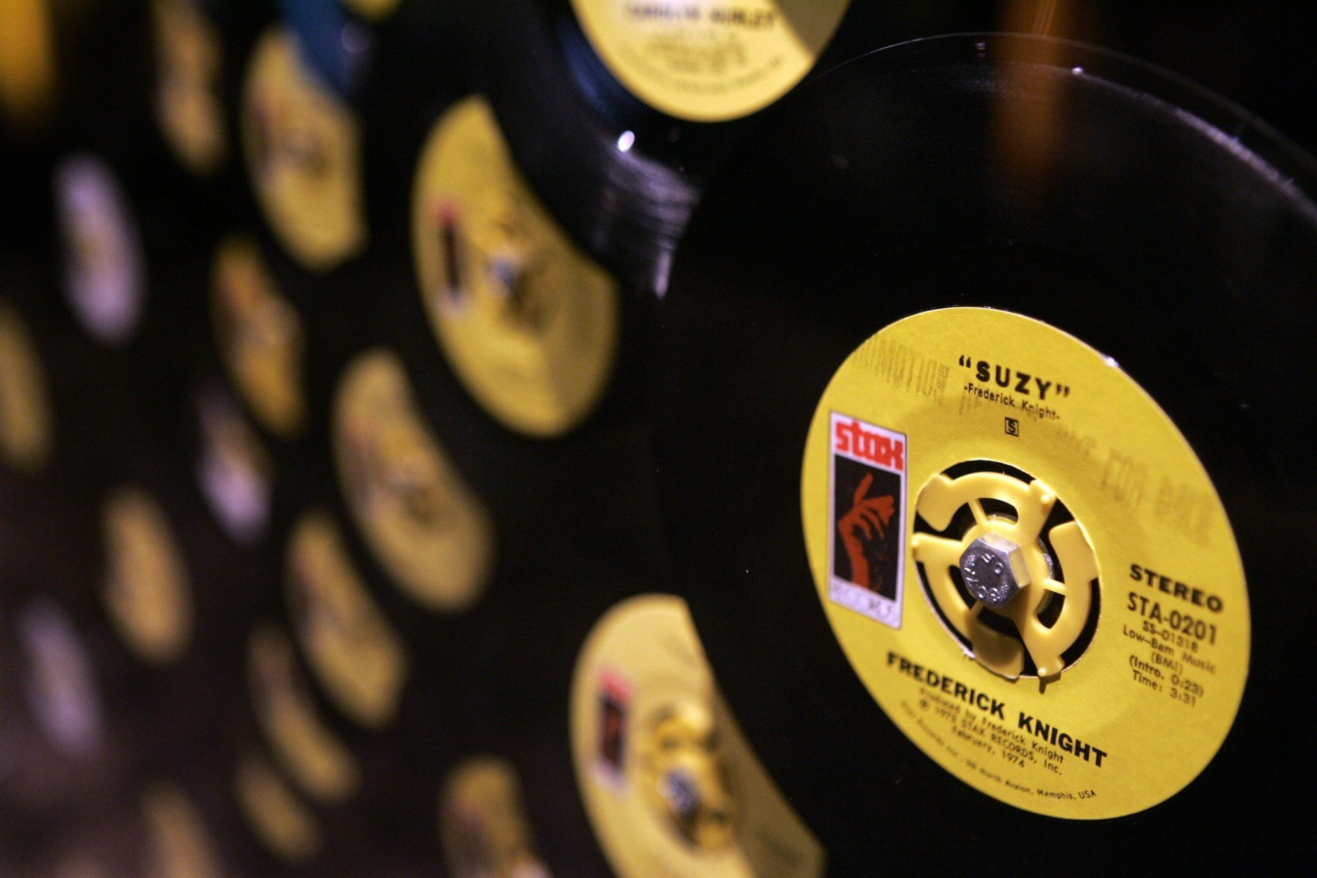 FILE - In this May 16, 2007 file photo, a display of 45 rpm records at the Stax Records museum in Memphis, Tenn. is shown. (AP Photo/Mark Humphrey, file)