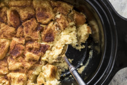 """This undated photo provided by America's Test Kitchen shows Classic Bread Pudding in Brookline, Mass. This recipe appears in """"The Complete Slow Cooker."""" (Daniel J. van Ackere/America's Test Kitchen via AP)"""