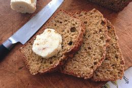 This Oct. 3, 2108 photo shows wheaten bread with sweet scotch whiskey butter in Amagansett, NY. This dish is from a recipe by Elizabeth Karmel. (Elizabeth Karmel via AP)