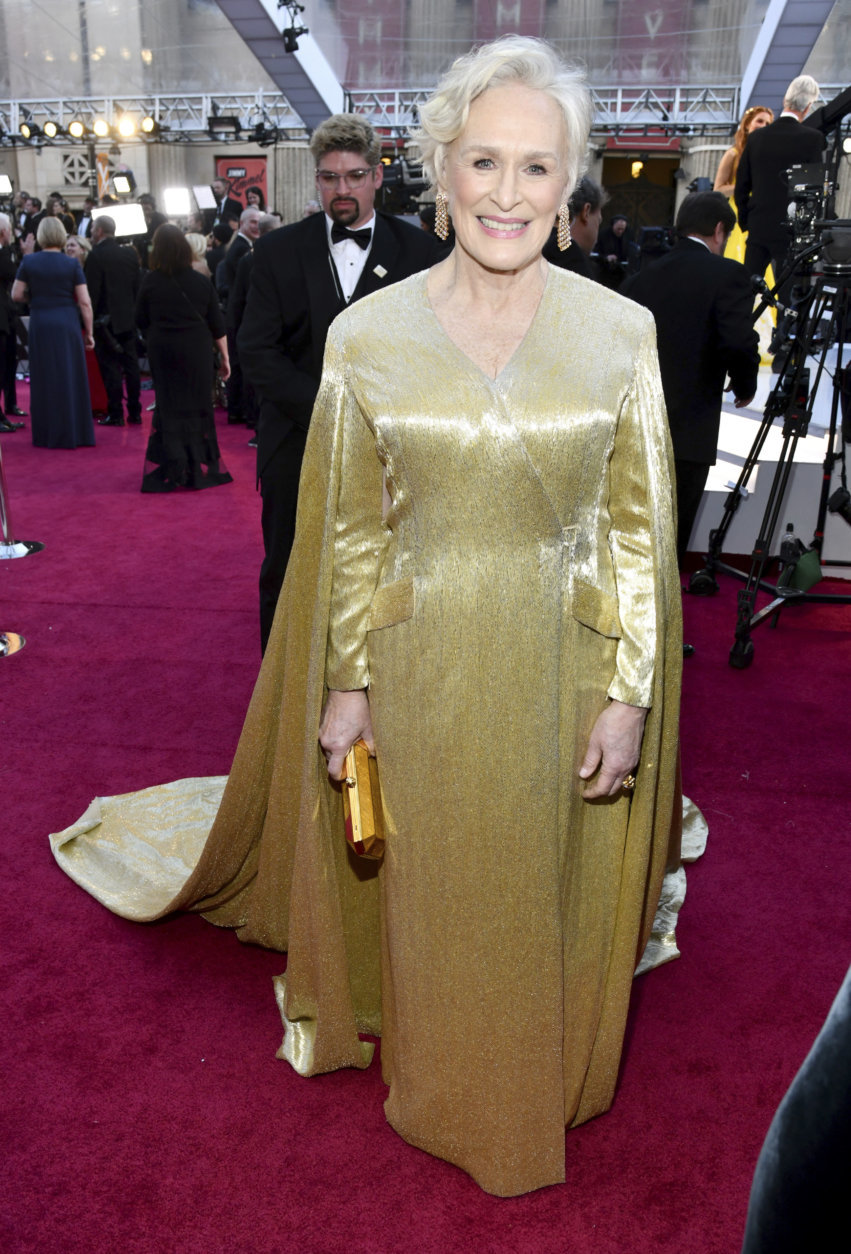 Glenn Close arrives at the Oscars on Sunday, Feb. 24, 2019, at the Dolby Theatre in Los Angeles. (Photo by Charles Sykes/Invision/AP)