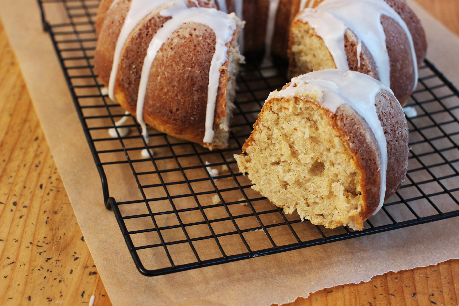 This Jan. 25, 2016 photo shows a sour cream cinnamon coffee cake in Concord, N.H. This Bundt-style cake is from a recipe by Katie Workman. (AP Photo/Matthew Mead)
