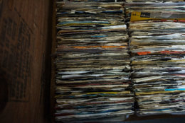 A selection of 45 rpm records is seen at Full Moon Records on Record Store Day, Saturday, April 19, 2014, in Atlanta.  (AP Photo/ Ron Harris)